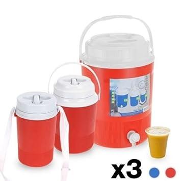3 x Camping campamento viaje agua dispensador de bebidas jarra Container Carrier barril Set: Amazon.es: Jardín