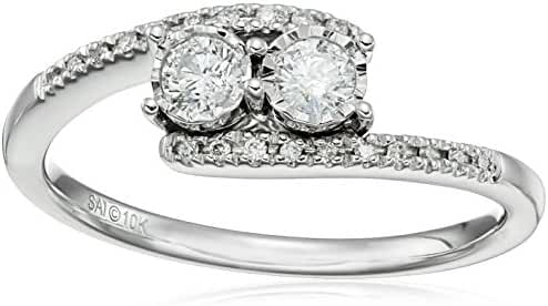 10K White Gold Bypass Two Stone Diamond Ring (1/4cttw, H-I Color, I2 Clarity), Size 7