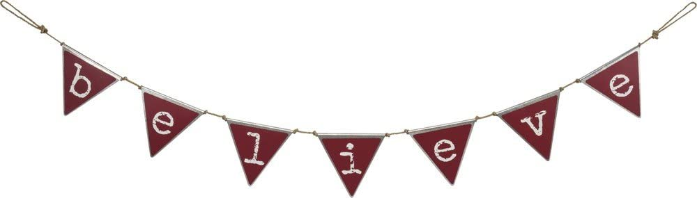 Primitives by Kathy Rustic-Inspired Tin Pennant Banner, White/Red