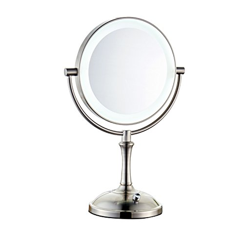 Lighted Makeup Mirror, Vanity Mirror, magnifying mirror, Vanity makeup mirror with LED lights, Rotary Control Double-Sided Lighted Swivel Tabletop mirror with 1x/7x Magnification, 8 inch, Retro Cherish XT