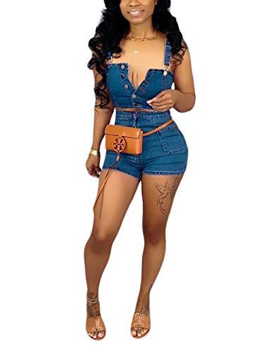 Salimdy Women Sexy Tank Crop Top High Waist Short Pants Solid Jumpsuits 2 Piece Outfits Summer Casual Set Blue -