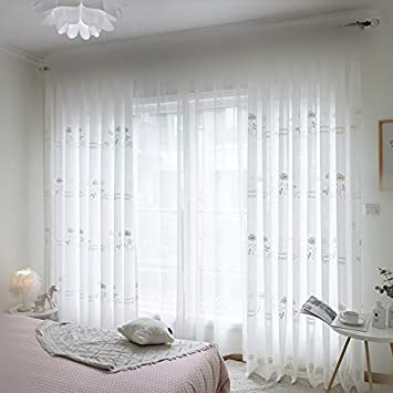 WINYY Floral Curtain Sheer Voile Embroidery Letter Curtain Tulle Rod Pocket Top Window Treatment Yarn Drape Curtain for Living Room 1 Panel 114 W x 96 L