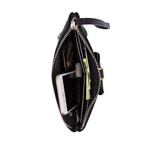 Mundi Vegan Leather Womens Wristlet Wallet With Bow And Wrist Strap (Black) by Mundi (Image #1)