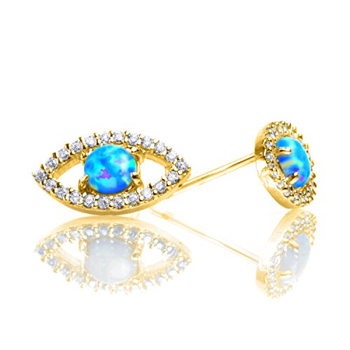 PAVOI 14K Yellow Gold Plated Religious Earrings CZ Simulated Diamond White Opal Earrings Evil Eye - Tiffany To Return Please