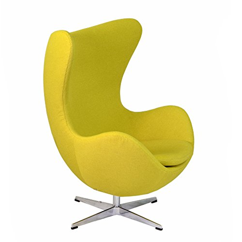 Design Tree Home Arne Jacobsen Inspired Egg Swivel Chair, Yellow