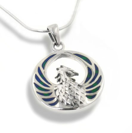 Sterling Silver Medallion Pendant (Blue Green Azurite Inlay Winged Fire Phoenix Sterling Silver Medallion Pendant with 18