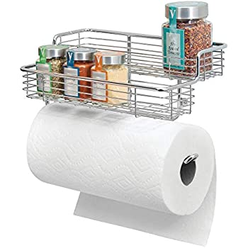 mDesign Wall Mounted Metal Paper Towel Roll Holder/Dispenser Rack Organizer with Two Tier Shelves for Glass Spice Bottles Jars for Kitchen and Pantry Storage - Chrome