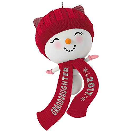 Hallmark Keepsake 2017 Cute Snowman Granddaughter Dated Christmas Ornament