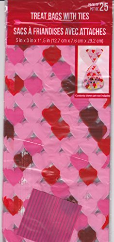 - 25pcs Valentine's Day Holiday - Cello/Cellophane/Loot Treat Bag 11.5 x 5 inch (Hearts All Over)