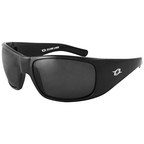 Clear Lake Montana Polarized Sport Fishing Sunglasses, Black Wraparound Frame, Smoked Gray Lenses Mens 100% UV - Sunglasses Men Wraparound