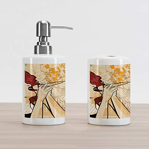 Lunarable Afro Soap Dispenser and Toothbrush Holder Set