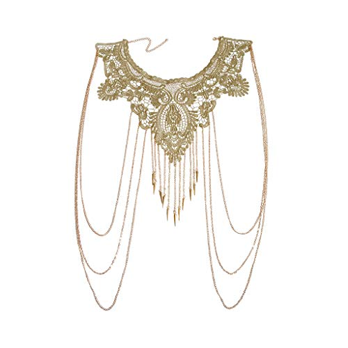(JoJo & Lin Gold Fine Chain Flower Lace Body Chain Bikini Necklace Jewelry (C))