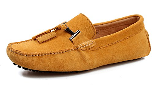 SUNROLAN Mens Casual Suede Leather Tassel Slip-On Loafers Outdoor Low Boat Shoes Driving Car Moccasins Gold YQ4nPEn
