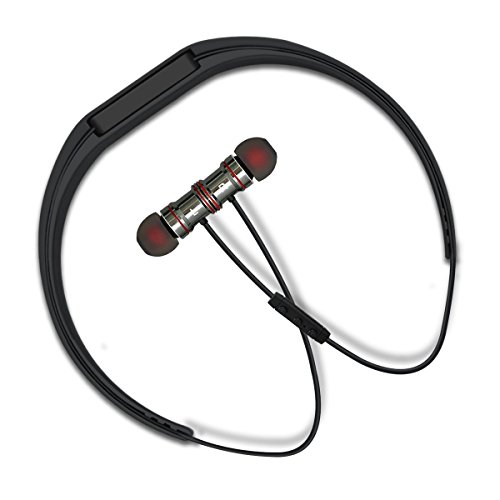 TAIR Wireless Bluetooth Sports Headphone With Mic,Neckband Type With Earhooks,Exercise Earbuds,Cool Black.