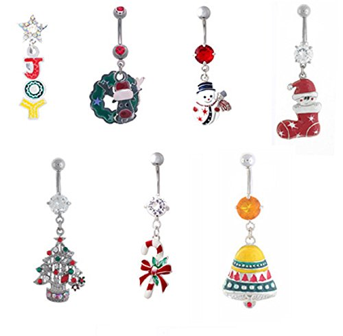 Christmas Belly Rings - Body Accentz Belly Button Ring 316L Surgical Steel Christmas Tree Holiday Navel Ring