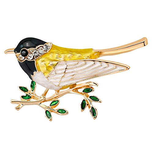 Stylebar Women Lark Bird Brooch Pins Broaches for Women Girls Yellow Enamel Leaf Branch Bird Brooches Crystal Gold Tone