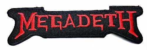 Megadeth Rock Music Band Patch(red on Black) Embroidered Iron on Hat Jacket Hoodie Backpack Ideal for Gift/ 12.8cm(w) X 3.5cm(h)