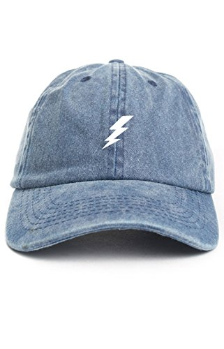 Bolt Hat (Lightning Bolt Dad Hat Baseball Cap Unstructured New - Denim)