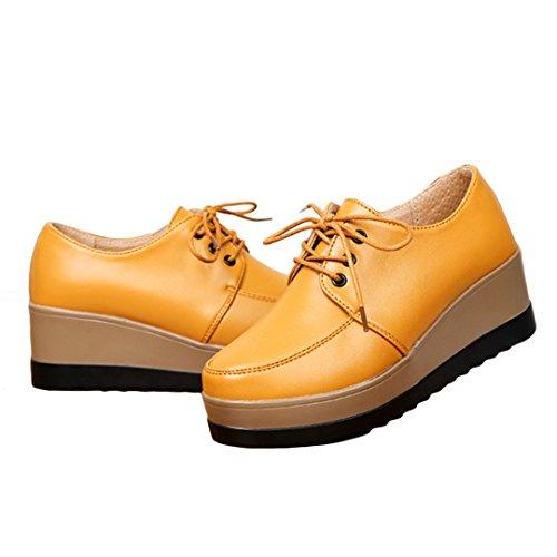 iFang - Zapatos de cordones para mujer negro negro amarillo
