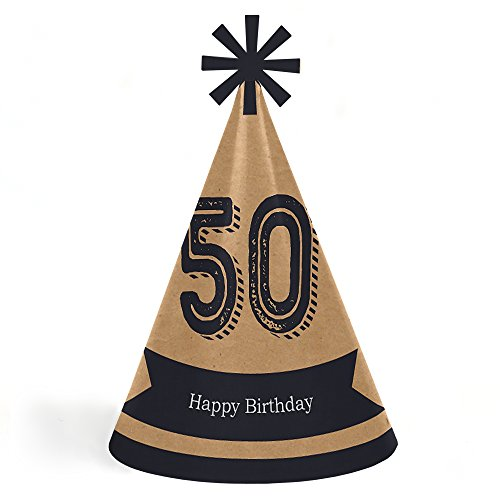 50th Milestone Birthday - Dashingly Aged to Perfection - Cone Happy Birthday Party Hats for Kids and Adults - Set of 8 (Standard Size) ()