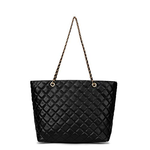 Large Capacity Work Tote Shoulder Bag (black) (Black Handbags Quilted)