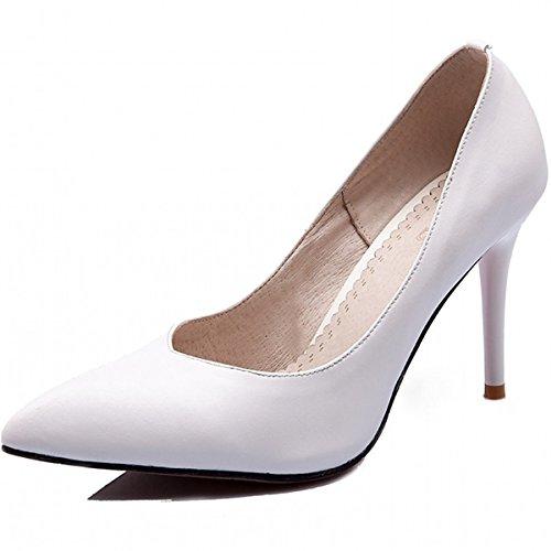DIMAOL Chaussures Pour Femmes Printemps Automne en Simili Cuir Talon Aiguille Talons Nouveauté Confort Chaussures Pour les Tenues Noir Blanc,Blanc US8.5/EU39/UK6.5/CN40