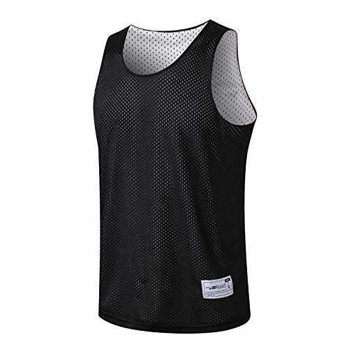 - ALFGO Mesh Tank Top | Durable & Breathable Jersey 100% Polyester for Basketball, Soccer& Football | Moisture Wicking Reversible Jersey for Training | Gift of 3 Wristbands (Black/White, Small)