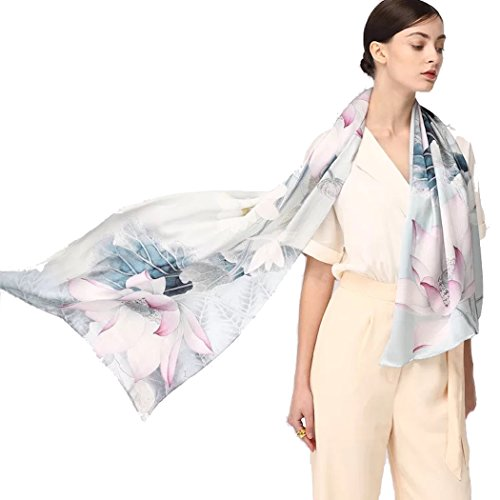 - Jeelow 100% Silk Scarf Charmeuse Oblong 16momme With Hand Rolled Edge Real Silk Scarves For Hair Wrapping (Lotus)