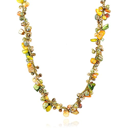 Green Mother Of Pearl Shell (Green Mother of Pearl Shell Freshwater Cultured Pearl Crystal Beads Necklace, 16-18 inches)
