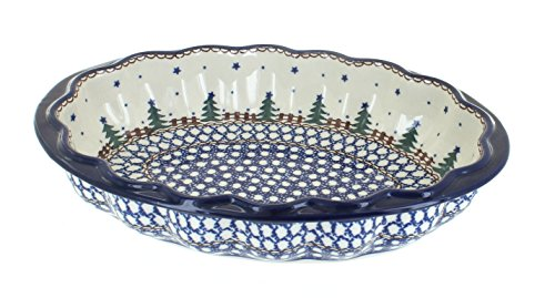 Polish Pottery Rustic Pines Scallop Baking Dish