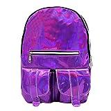 Van Caro Holographic Leather Backpack Schoolbag Laser Daypack for Women Girls (Purple)