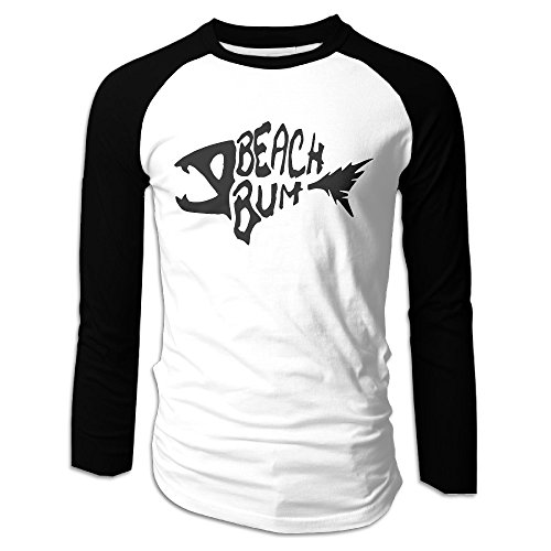 Creamfly Mens Beach Bum Logo Long Sleeve Raglan Baseball Tshirt XL