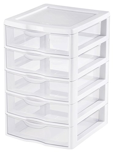 Sterilite 20758004 Small 5 Drawer Unit, White Frame with Clear Drawers, 4-Pack