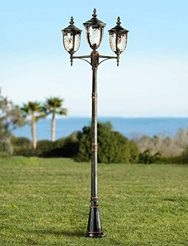 (Bellagio Traditional Outdoor Post Light Street Lantern 3 Light Veranda Bronze 96