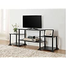 "3-cube Media Entertainment Center for Tvs up to 40"" Plasma Television Cabinets Flat Screen Stand Stands Storage Organizer Home Living Room Furniture Black Sale Modern (Black Oak, 1)"