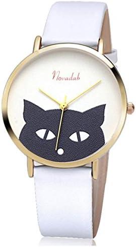 Novadab Cat s Eye Leather Band Luxury Quartz Watches Girls Ladies Wristwatch