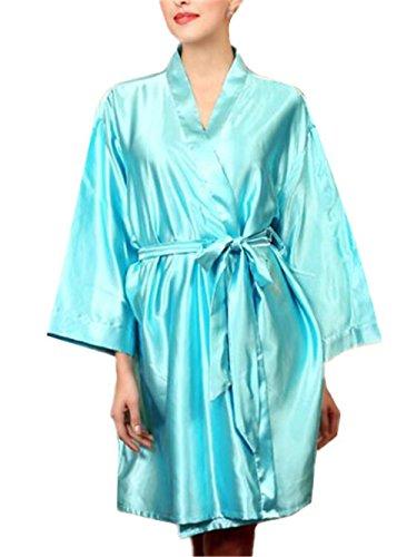 Vestito Femminili Allacciatura Allentato Camicia da Abito da Notte BESTHOO da Tinta Scivoloso Casual Unita Vestito Notte Donna Blu da Notte Sleepwear Pigiama 7HzwvaqH