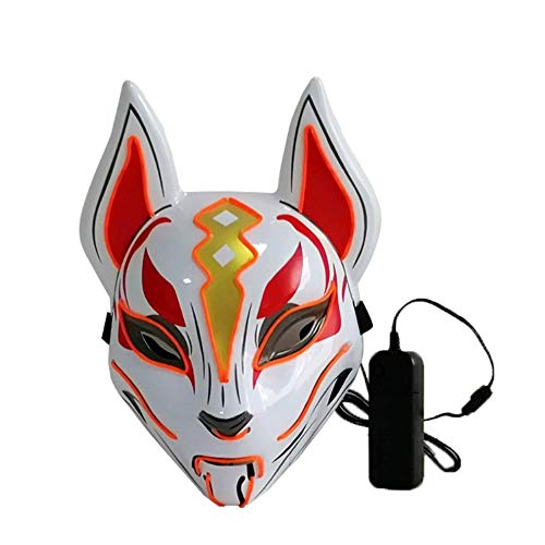 Moonideal Led Light UP Game Fox Mask | Neon Line Halloween Mask | Sound Induction Mask Controller | Flash with Music 4 Different Mode (Orange) -