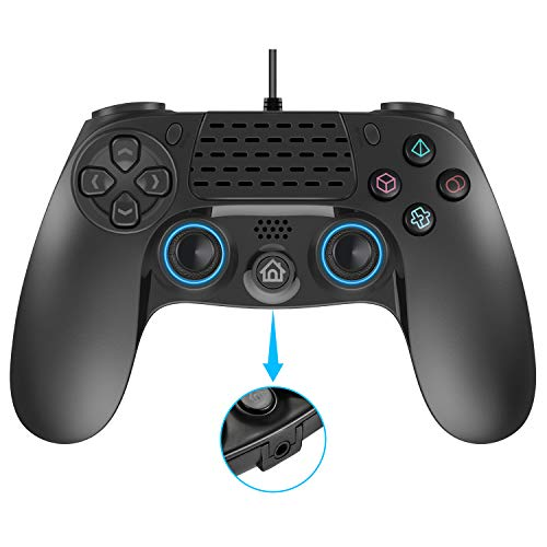 Wired PS4 Controller, Dual Vibration USB Wired PS4 Remote Controller Joystick Gamepad with 3.5MM Headphone Jack 2.5 Meters (8 Feets) Cable for Play Station 4 PS4/PS3/PC Platform