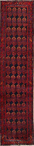 Rug Source Vintage Handmade Wool Geometric Nahavand Hamedan Persian 16 Foot Runner Rug