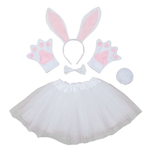 Rabbit Paws Costume (ACTLATI 6 Pcs/Set Cute Rabbit Ears Headband Tail Bowtie Paws Fancy Tutu Dress Cosplay Party Kit for Child Kids White)