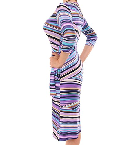 Purple Blue Patterned Banana Wrap Dress wfUgT8