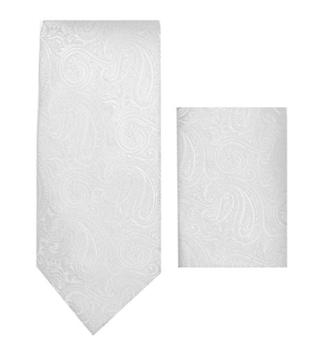 Oliver George Paisley Necktie Set (White) (Tie Wallet)