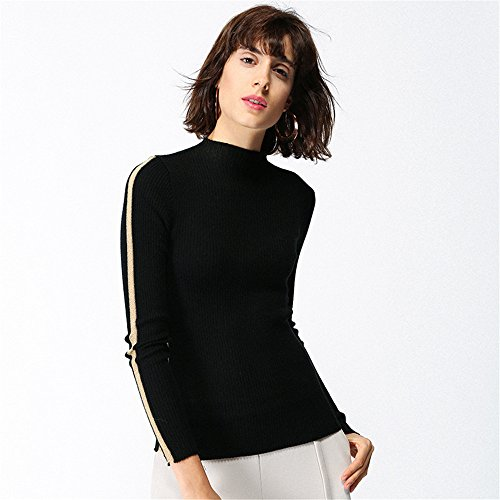 Knitting Black Half Slim Sweaters Comfortable Height Women's QXH collar xawAFq1p