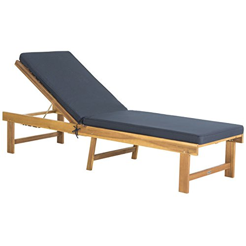 Lounger Chaise Adjustable Teak (Safavieh Outdoor Collection Inglewood Teak Brown/Navy Lounge Chair, Teak/Navy)