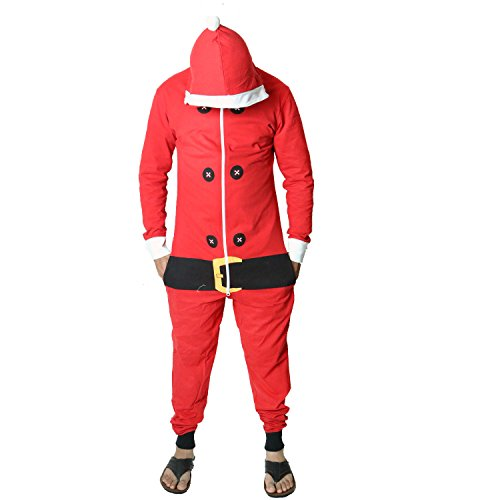 Novelty Unisex Mens Ladies Elf Santa All in One Christmas Onesie Costume Jumpsuit Sizes Small to 4XL (Medium, Lightweight Santa (Santa Elf Suits)