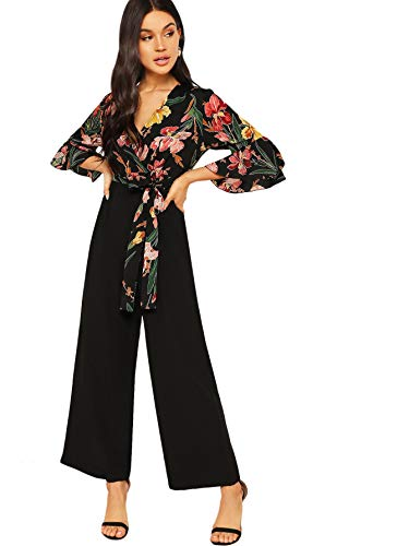 SweatyRocks Women's Wrap Deep V Neck High Waist Long Pants Romper Jumpsuit Black L (Wrap Jumpsuit)