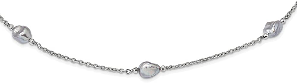 925 Sterling Silver Rhodium-plate 8-9mm Grey Baroque Pearl 9 Station Necklace 30inch