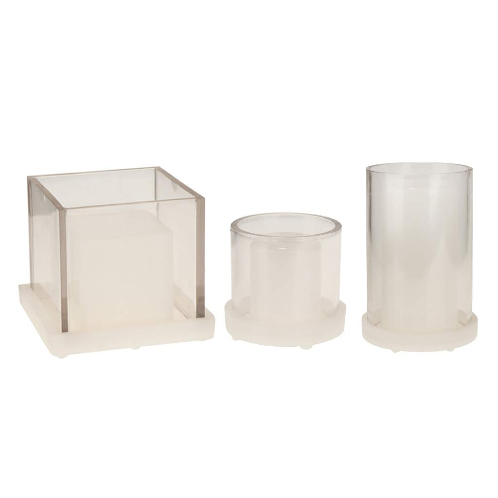 Candle Molds 3pcs Square & Cylinder Hollow Cube Candle Making Moulds DIY Handmade Aromatherapy Candle Scented Candle Dried Flower Mold Tools