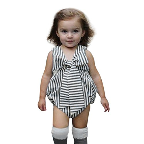 ZHANGVIP 2018 New Summer Baby Girls Infant Striped Bow Jumpsuit,Sleeveless Clothes Romper (12M, Gray) (Cheerleader Dress Piece One)